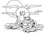 Black and White Cartoon of a Monster Coming Out of a Grave clipart