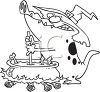 Black and White Cartoon of a Gator Wearing a Witch Hat Stirring a Cauldron clipart