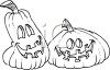 Black and White Cartoon of Two Goofy Pumpkins clipart