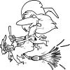 Black and White Cartoon of a Silly Witch on Her Broom clipart