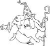 Black and White Halloween Cartoon of a Wizard clipart