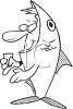 Black and White Halloween Cartoon of a Man Wearing a Fish Costume clipart