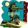 Cartoon of a Werewolf Going Door to Door Trick or Treating clipart