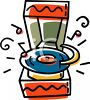 Cartoon of a Retro Record Player clipart