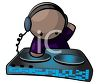Cartoon of a Club DJ Mixing Music on a Turntable clipart