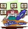 Record Producer Sitting at His Desk with Gold Records on the Wall clipart