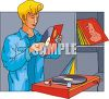 80s Guy Playing and Listening to Records clipart