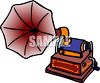 Cartoon of a Gramophone with a Cylinder Playing clipart