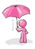 Pink Female Character Holding an Umbrella clipart