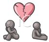 Gray Human Figures Sitting Apart Under a Broken Heart clipart