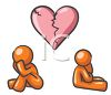 Orange Human Figures Sitting Apart Under a Broken Heart clipart