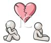 White Human Figures Sitting Apart Under a Broken Heart clipart