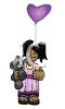 Happy African American Girl Holding a Balloon and a Stuffed Bear clipart