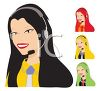 Collection of Female Customer Service Operators clipart