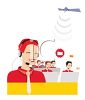 Women Working in a Call Center Wearing Telephone Head Sets clipart