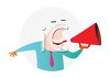 Bald Man Yelling Into a Megaphone clipart