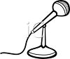 Black and White Cartoon Microphone Sitting on a Stand clipart