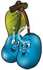 Cartoon of Healthy Food-Nutritional Plums on the Tree clipart