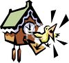 Bird Squawking from a Cuckoo Clock clipart