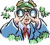 Bird Watching Man Using Binoculars clipart