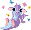 Cute Baby Dragon with Large Eyes and Butterflies clipart