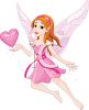 Sparkling Pink Faerie with Wings Holding a Heart clipart