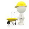 3D Construction Worker Pushing a Wheelbarrow Wearing a Hard Hat clipart
