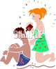 Girl Putting Sunscreen on Her Boyfriend clipart