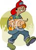 Cartoon of a Fireman Carrying a Pet Dog He Saved clipart