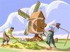 Dutch Men Working in a Field with a Windmill clipart