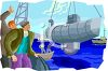 Men Watching a Submarine Being Launched clipart