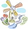 Cute Little Windmill by a Stream with Tulips clipart