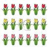 Cartoon Tulips in Rows by Color clipart