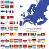 Flags from Around the World on a Map of Europe clipart