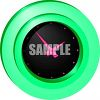 Round Green 3D Wall Clock with a Black Face and Pink Hands clipart