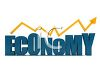 3D Economy Text with an Arrow Showing a Rise clipart