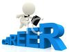 3D Career Word with a Human Figure Running Up It Holding a Briefcase clipart