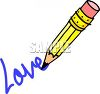 Cartoon of a Pencil Drawing the Word Love clipart