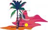 Hawaii Sunset on the Beach with Palm Trees clipart