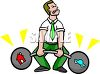 Cartoon of a Man Trying to Balance House and Car Payments clipart