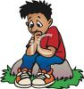 Cartoon of a Lonely Little Boy Sitting on a Rock clipart