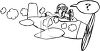 Black and White Cartoon of a Pilot in a Plane About to Crash clipart