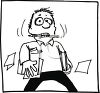Black and White Cartoon of a Stressed Out Student Holding Papers  clipart