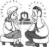 Black and White Cartoon of Parents Watching the Clock for a Late Child clipart