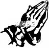 Black and White Illustration of Praying Hands clipart