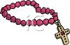 Pink Rosary Beads with a Jeweled Cross clipart