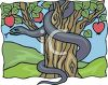 Evil Serpent Wrapped Around the Trunk of an Apple Tree clipart