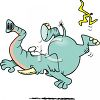 Cartoon of an Elephant Slipping on a Banana Peel and Falling clipart