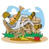 Old Black Hillbilly Playing Guitar in His Front Yard with a For Sale Sign clipart