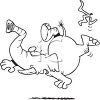 Black and White Cartoon of an Elephant Slipping on a Banana Peel and Falling clipart